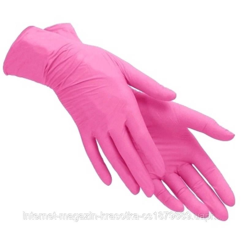 Перчатки нитриловые розовые размер S ( 1 пара)