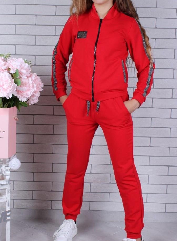 Спортивный костюм-тройка (Юбка, брюки, кофта) #42199. 9-10-11-12-13-14 лет (134-164 см). Красный. Оптом