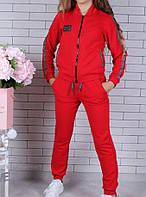 Спортивный костюм-тройка (Юбка, брюки, кофта) #42199. 9-10-11-12-13-14 лет (134-164 см). Красный. Оптом, фото 1