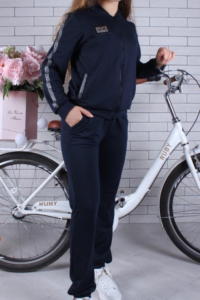 Спортивный костюм-тройка (Юбка, брюки, кофта) #42199. 9-10-11-12-13-14 лет (134-164 см). Темно-синий. Оптом