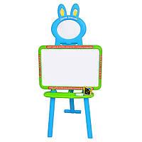 Доска знаний мольберт детский и магнитная доска для рисования 3 в 1 0703 UK-ENG Голубая с зеленым, 3 цвета, фото 1