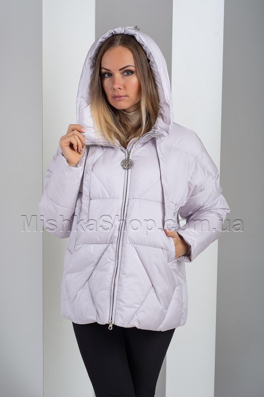 Короткий модный зимний пуховик цвета дым Hannan Liuni 3265