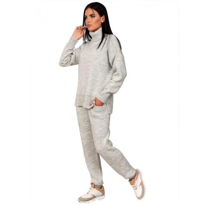 Теплый вязаный костюм Свитер под горло Светло-серый 42-46 размер
