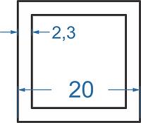 Алюмінієва труба квадратна 20x20x2.3 без покриття. Порізка в розмір.