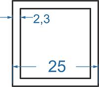 Алюмінієва труба квадратна 25x25x2.3 з покриттям. Порізка в розмір.