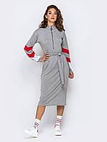 Платье темно серое спортивное  в стиле sport-casual с длинным рукавом миди 42-44 46-48