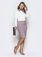 Офисное платье белое-розовое облегающее из костюмной ткани 42 44 46 48