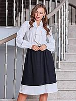 Офисное платье черно-белое по колено из софта 44 46 48