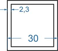 Алюмінієва труба квадратна 30x30x2.3 з покриттям. Порізка в розмір.