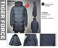Зимняя удлинённая мужская куртка на Био-Пухе TIGER FORCE Артикул: TFBW-70550-779 т.серый,матовый