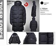 Зимняя удлинённая мужская куртка на Био-Пухе TIGER FORCE Артикул: TFBW-70528-10 чёрный,матовый