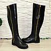 Ботфорты женские   кожаные, декорированы молнией, фото 8