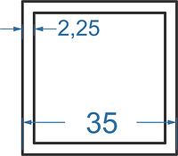 Алюмінієва труба квадратна 35x35x2.25 без покриття. Порізка в розмір.
