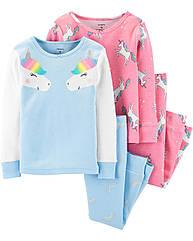 """Набор с двух пижамок 4в1 """"Единорог"""" Carter's для девочки, пижама картерс"""