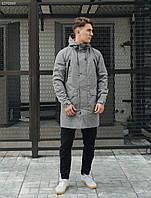 Парка мужская фирменная Staff me gray с удлиненной спинкой