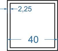 Алюмінієва труба квадратна 40x40x2.25 з покриттям. Порізка в розмір.