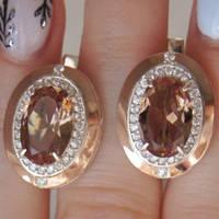 Серебряные серьги родированные с золотыми накладками с султанитом и фианитами ГТ-088