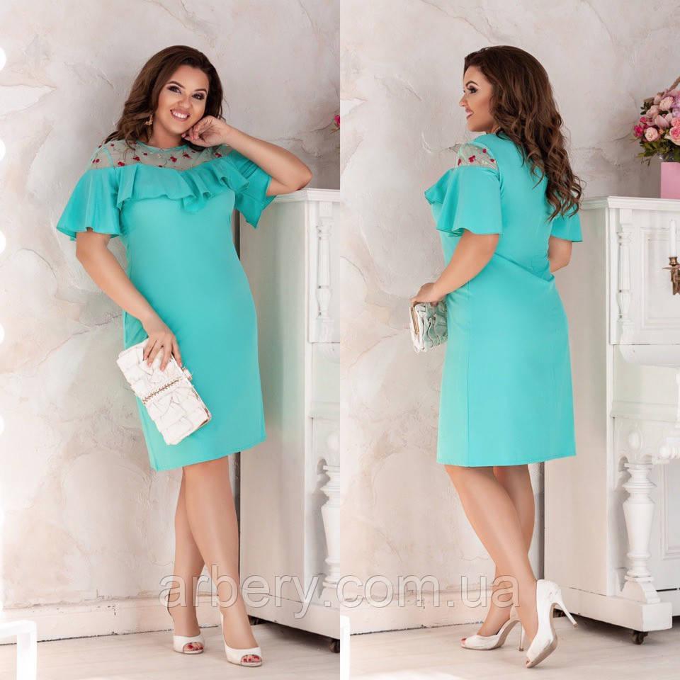 Женское нарядное платье вышивкой на сетке