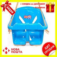 Детская качеля Малыш Технок 3015 Голубая   качелька для ребенка   пластиковая подвесная качеля