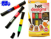 Набор для дизайна ногтей Hot designs |набір  фломастерів для манікюру  | набор лаков фломастеров для маникюра