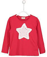 Красный реглан для девочки Lc Waikiki / Лс Вайкики с белой звездой из паеток и розочек
