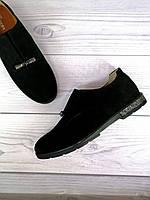 Туфли замшевые женские черные классические из натуральной замши повседневные на низком ходу классика нарядные