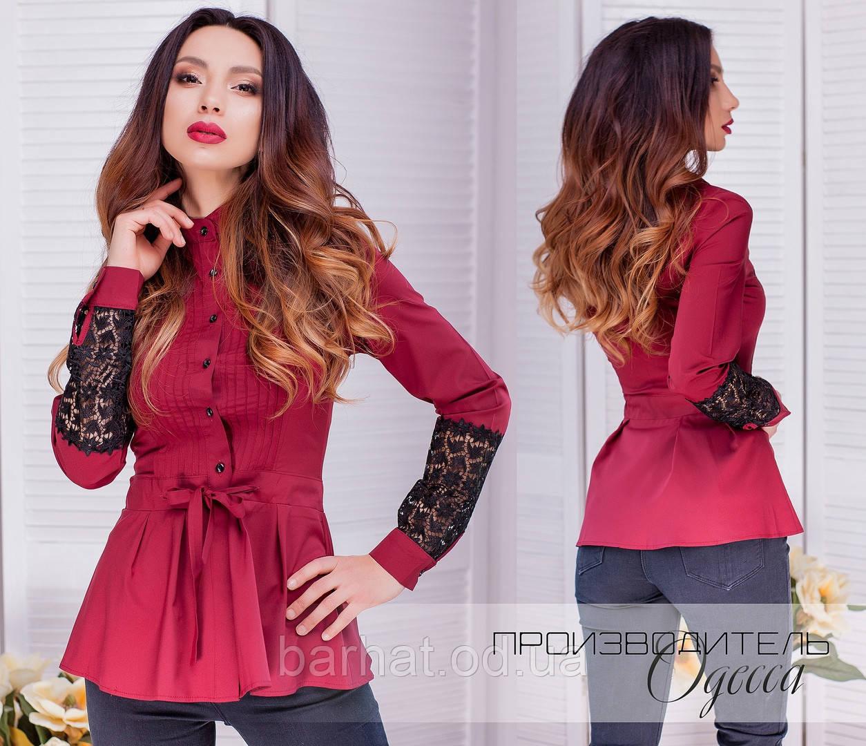 Блузка с баска бордового цвета 42,44,46,48  р.