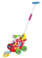 Каталка для ребенка на палочке красный Вертолет 0867 | детская игрушка | крутится пропеллер и каруселька