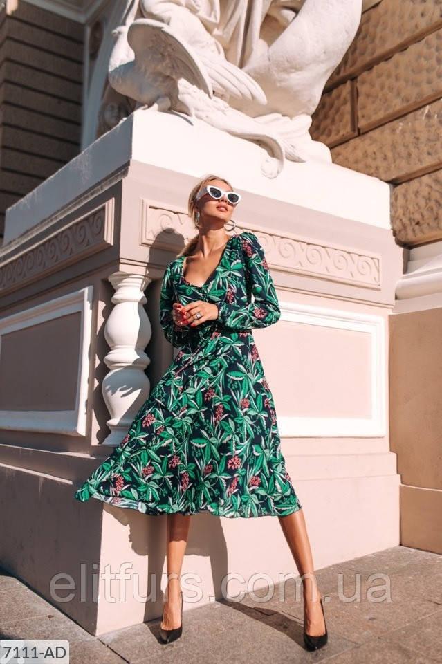 Платье миди элегантное с растительным принтом