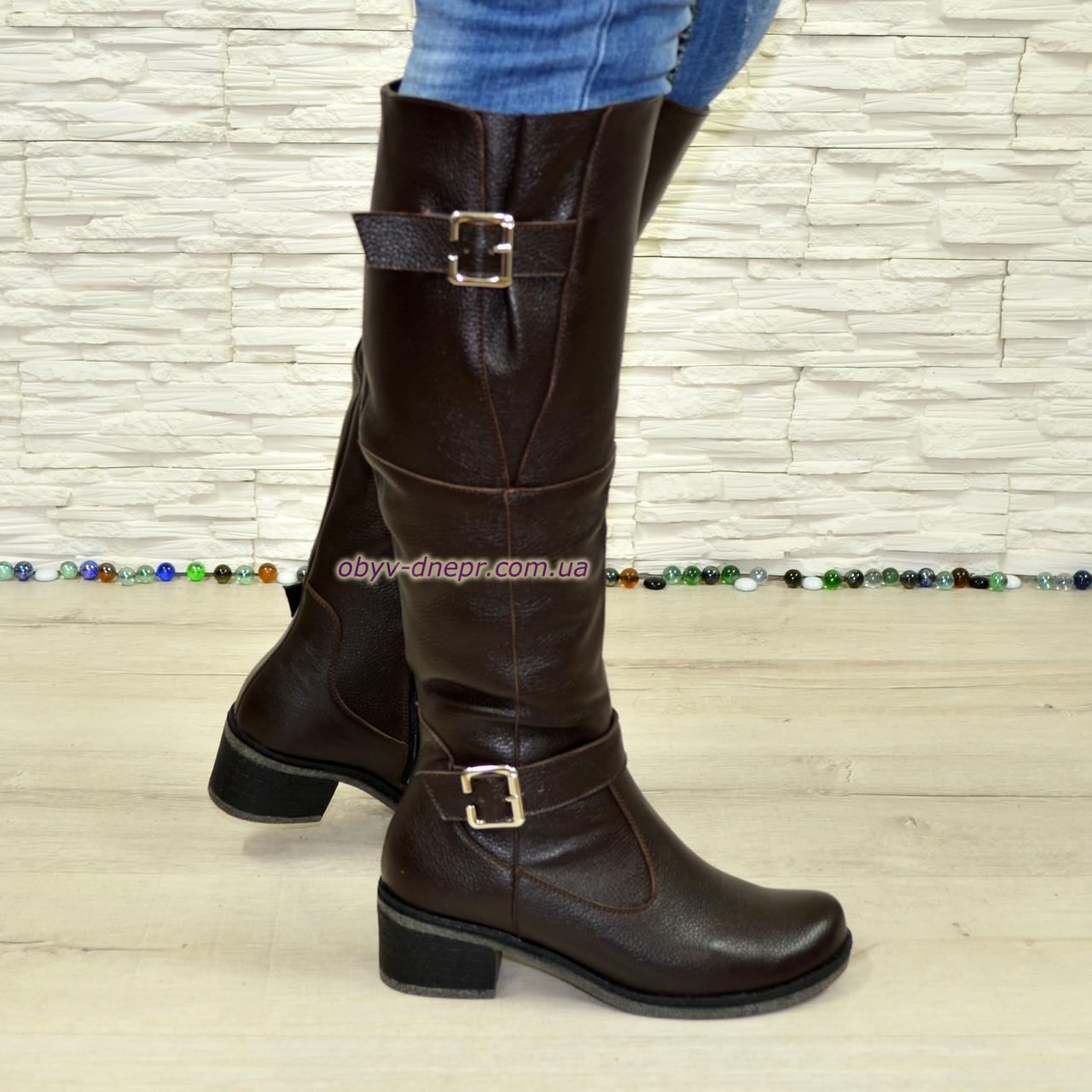 Сапоги женские   на каблуке, натуральная коричневая кожа флотар.