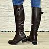 Сапоги женские   на каблуке, натуральная коричневая кожа флотар., фото 5