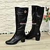 Женские классические кожаные сапоги на невысоком каблуке, зимний вариант, фото 4