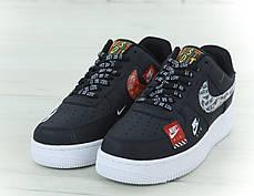 Кроссовки мужские Найк Nike Air Force 1 Low Just Do It Pack Black. ТОП Реплика ААА класса., фото 2