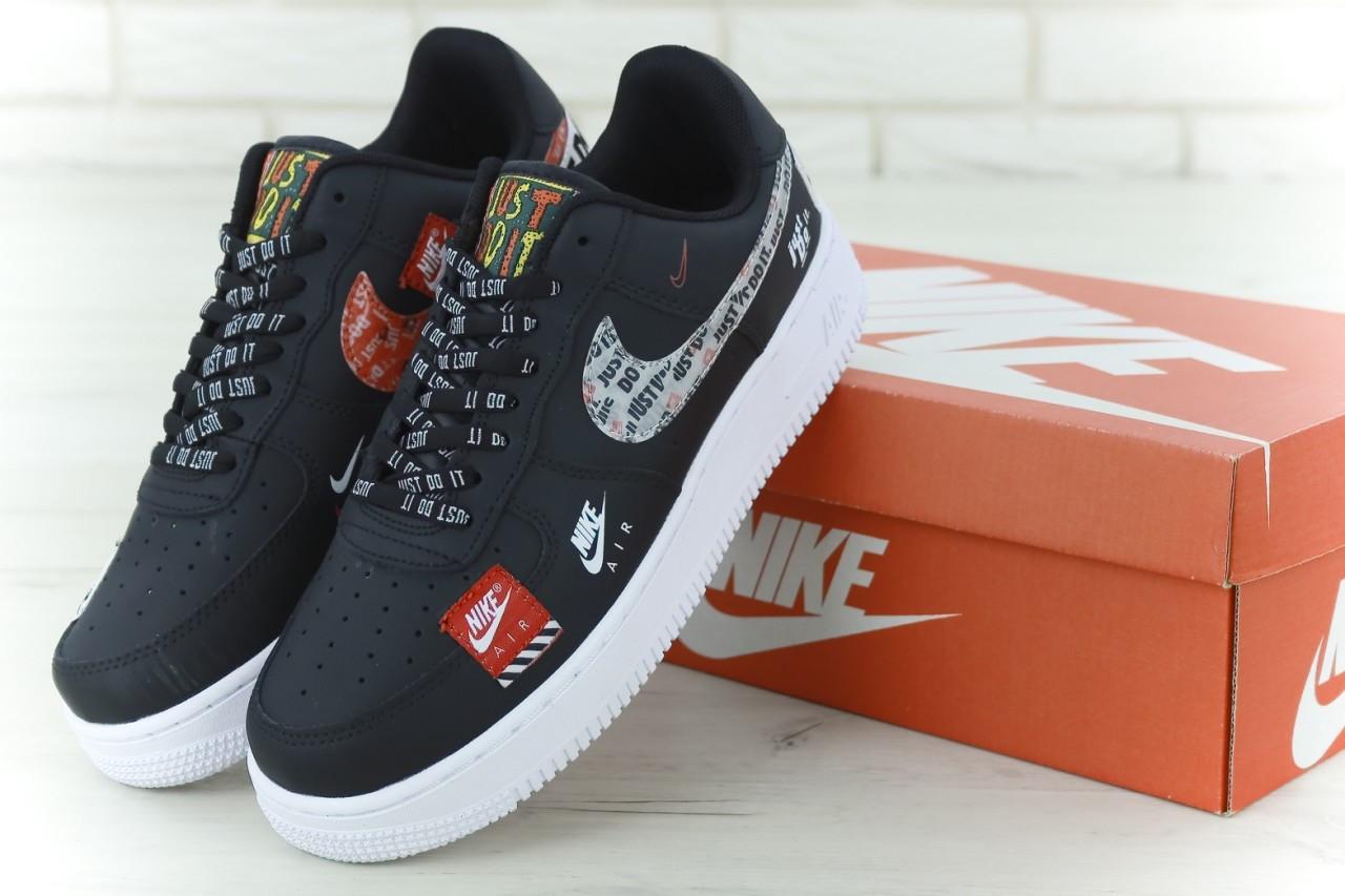 Кроссовки мужские Найк Nike Air Force 1 Low Just Do It Pack Black. ТОП Реплика ААА класса.