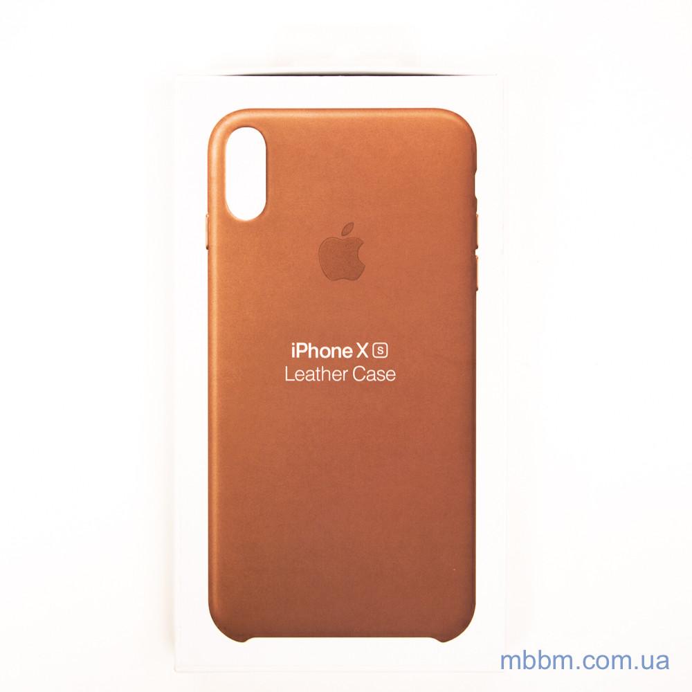 Накладка Apple Leather iPhone Xs X saddle brown Коричневый