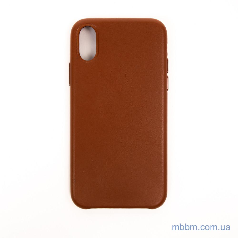 "Накладка Apple Leather iPhone Xs/X {5.8""} saddle brown [копия]"