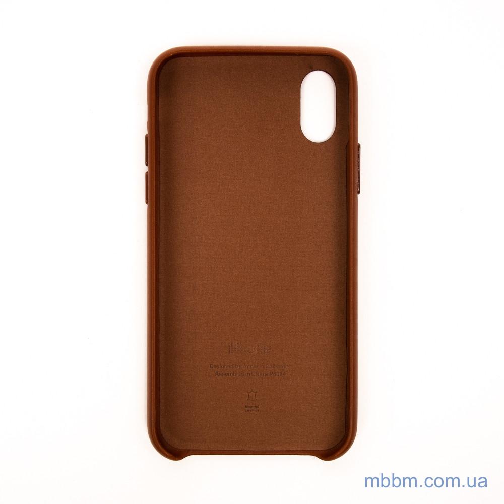 Apple Leather iPhone Xs X saddle brown Коричневый