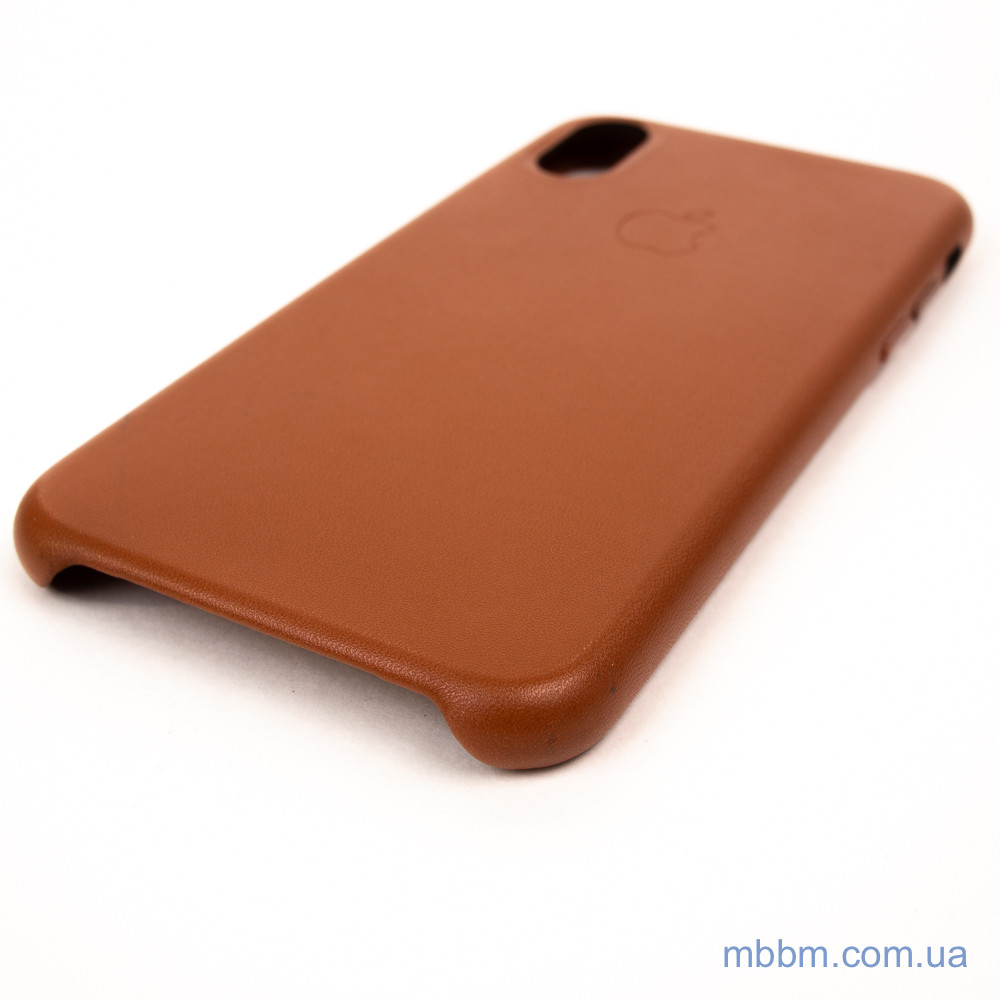 Apple Leather iPhone Xs X saddle brown Коричневый Чехол