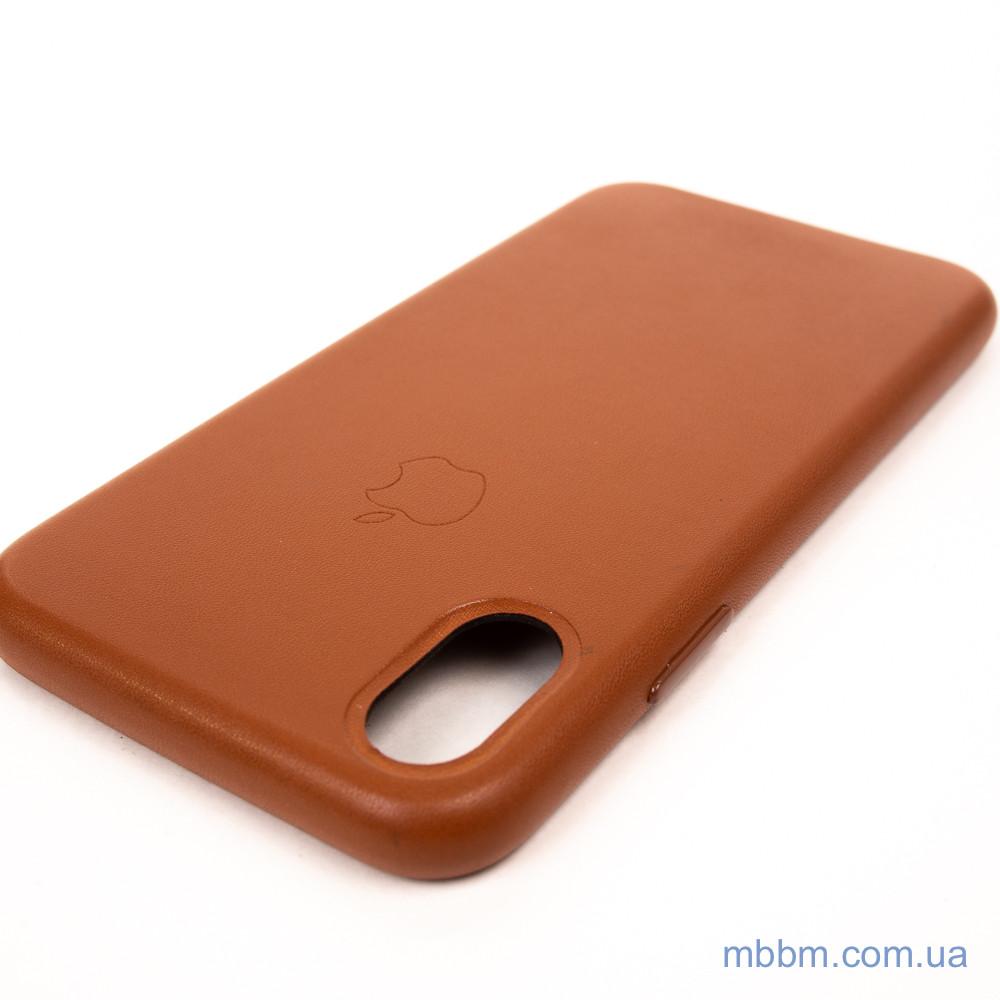 Накладка Apple Leather iPhone Xs Коричневый Чехол