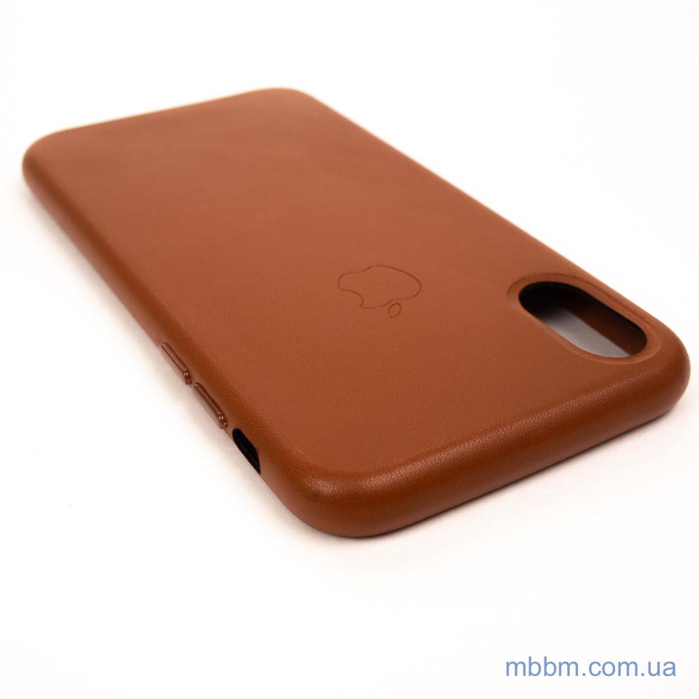 Apple Leather iPhone Xs X saddle brown