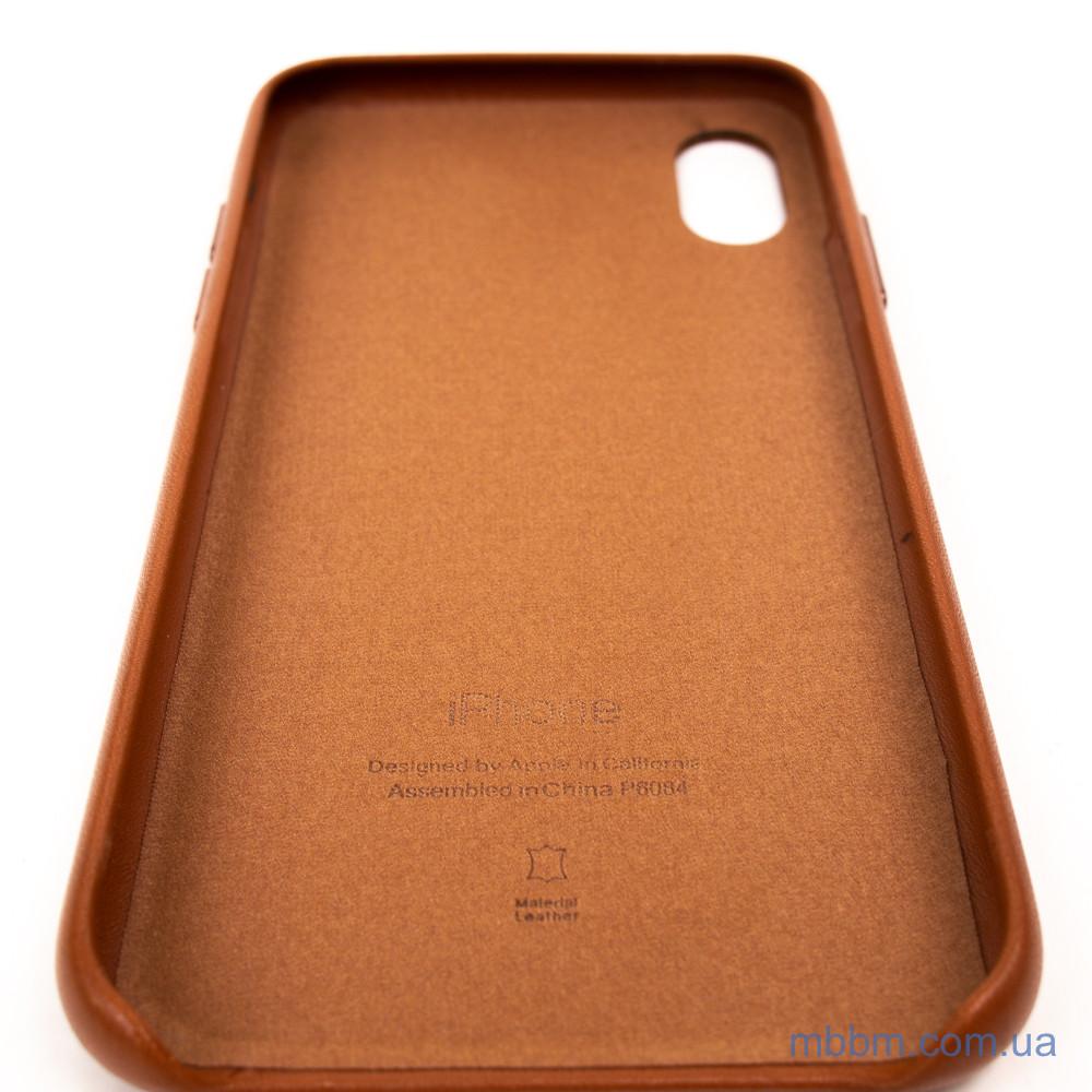 Накладка Apple Leather iPhone Xs Коричневый