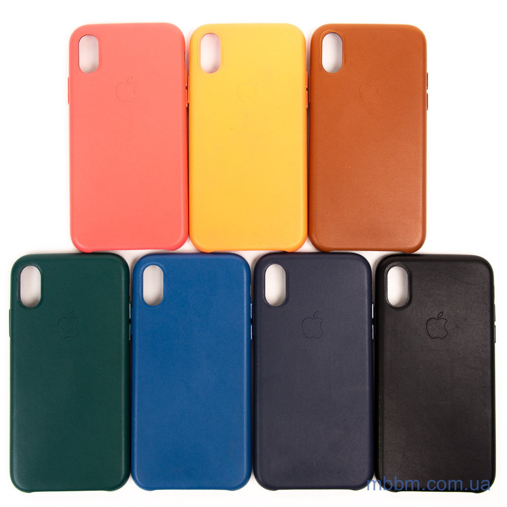Накладка Apple Leather iPhone Xs X saddle brown Коричневый Чехол