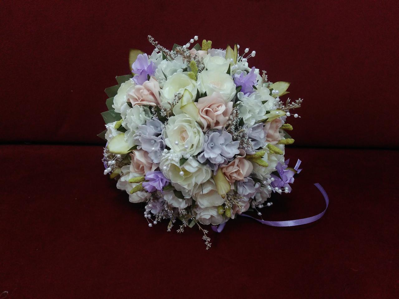 Свадебный букет-дублер из роз и пион молочный с пудровым и сиреневым