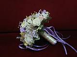 Свадебный букет-дублер из роз и пион молочный с пудровым и сиреневым, фото 2