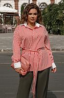 Женская рубашка в полоску большого размера, с 48-58 размер, фото 1