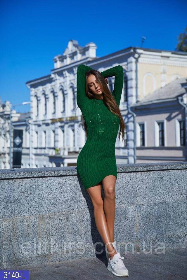 Платье мини вязаное стильное