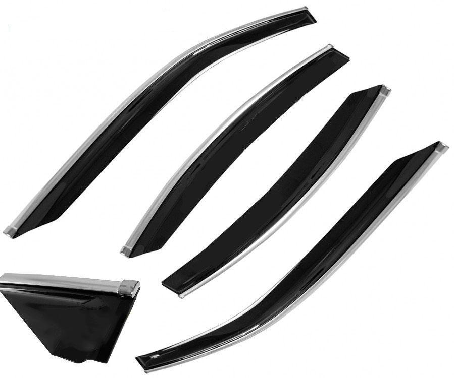 Дефлекторы окон, ветровики Chery Tiggo 2005-2010 хром молдинг Cobra Tuning