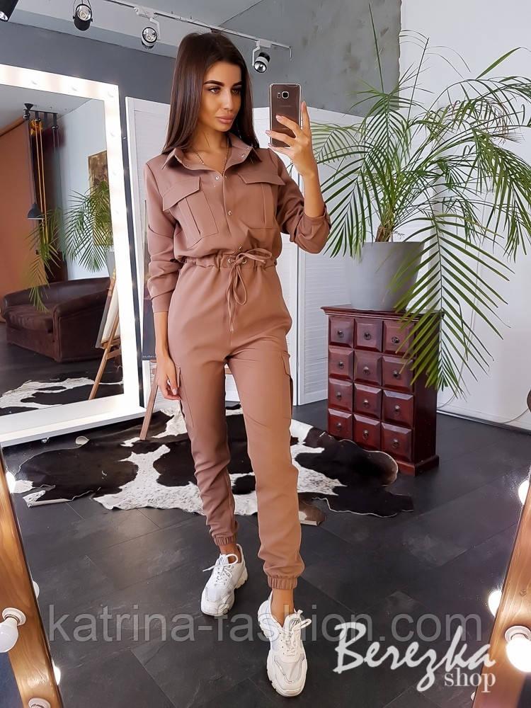 Женский стильный комбинезон брючный с накладными карманами (в расцветках)