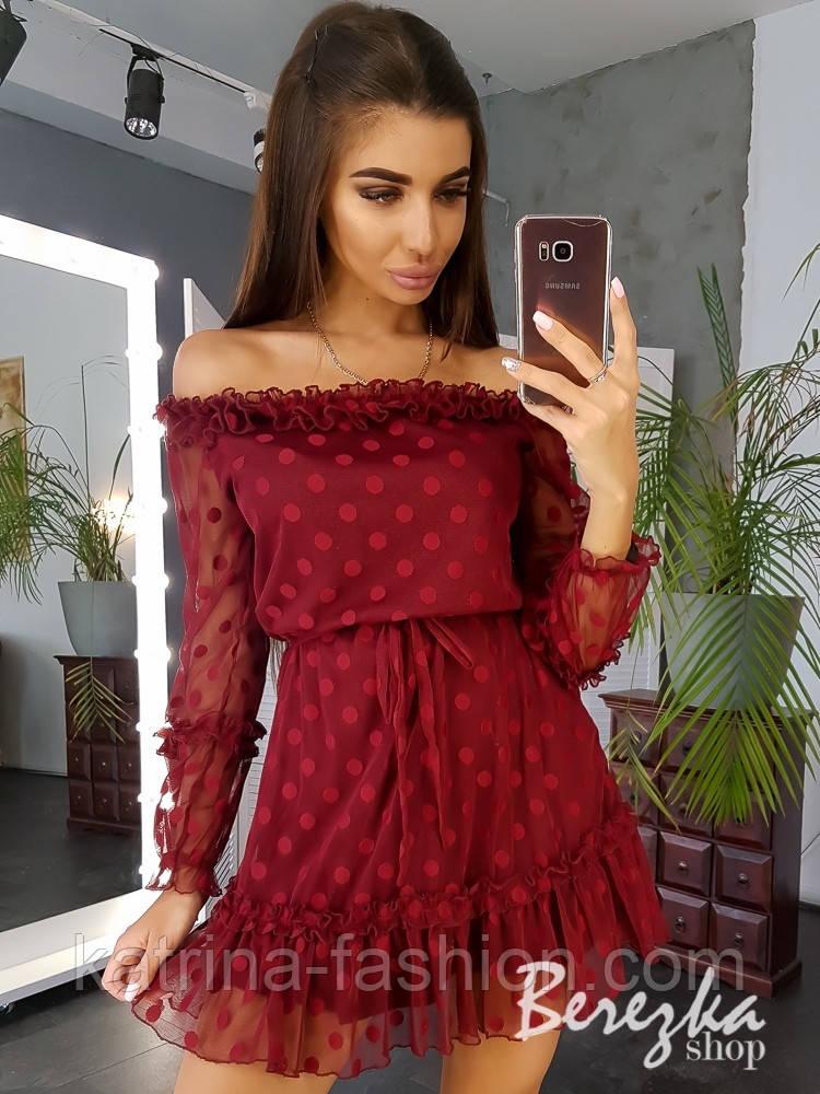 Женское платье в горошек с поясом (в расцветках)