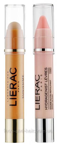 Набор Lierac Sunissime Eye Contour SPF50 3гр + Lierac Hydragenist Lip Balm для губ розовый 3 гр
